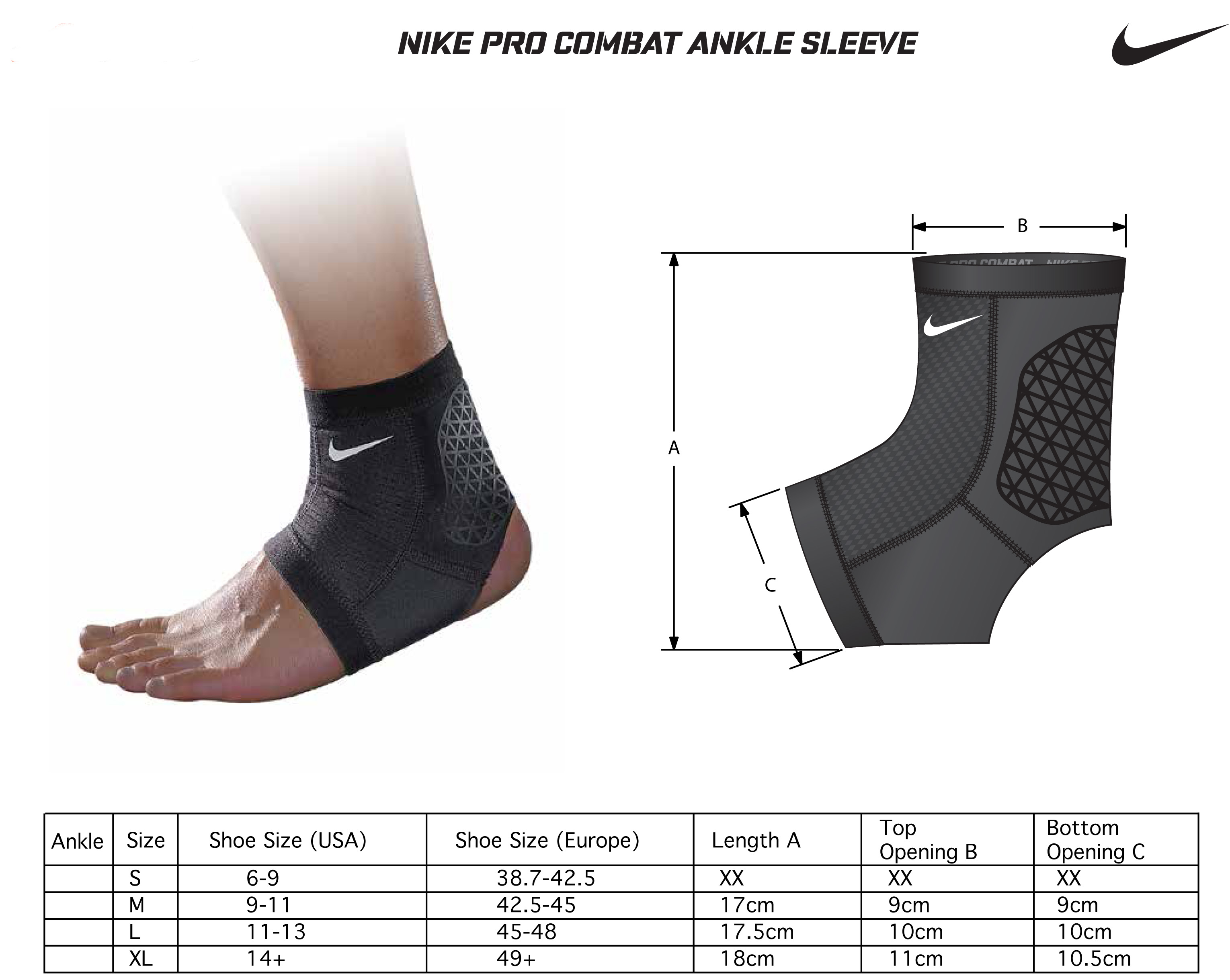 Nike Pro Combat Hyperstrong Ankle Support Sleeve Forrunnersbyrunners